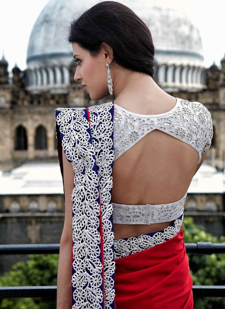 open back saree blouse #saree #indian wedding #fashion #style #bride #bridal party #brides maids #gorgeous #sexy #vibrant #elegant #blouse #choli #jewelry #bangles #lehenga #desi style #shaadi #designer #outfit #inspired #beautiful #must-have's #india #bollywood #south asain