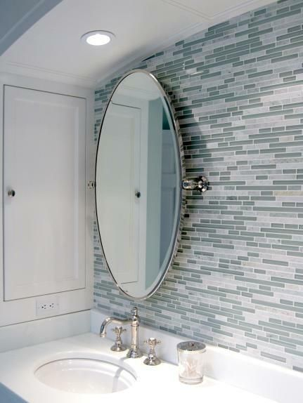 bathrooms - blue gray linear glass mosaic tiles backsplash oval pivot mirror  Modern, contemporary bathroom with linear blue & gray Soho glass