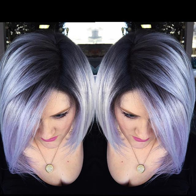 Beautiful silver lavender hair color design by shadow root by Brittnie Garcia bob haircut hotonbeauty.com