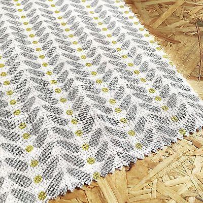 Geometric Scandinavian Fabric Per Metre Curtain Fabric Linen Fabric Yellow Dots