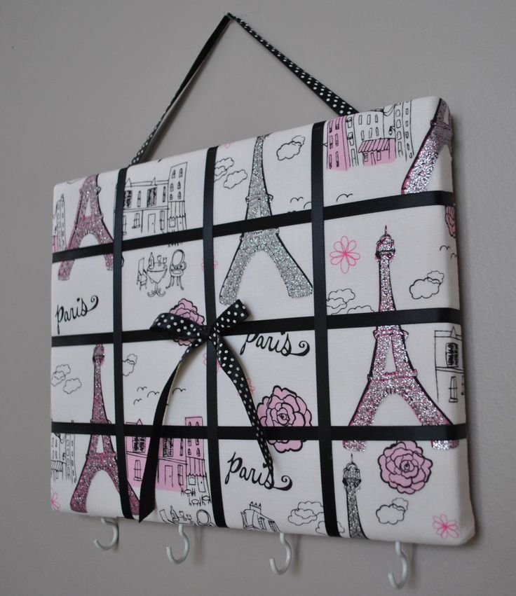 Paris themed French memo board / organizer / bow holder by MemoBoardsNMore on Etsy https://www.etsy.com/listing/235855166/paris-themed-french-memo-board-organizer