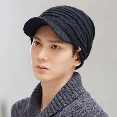 Https Www Buyhathats Com Mens Peaked Beanie Hat Bill Winter Thick Knit Woolly Hats Html Beanie Hats Wooly Hats Hats