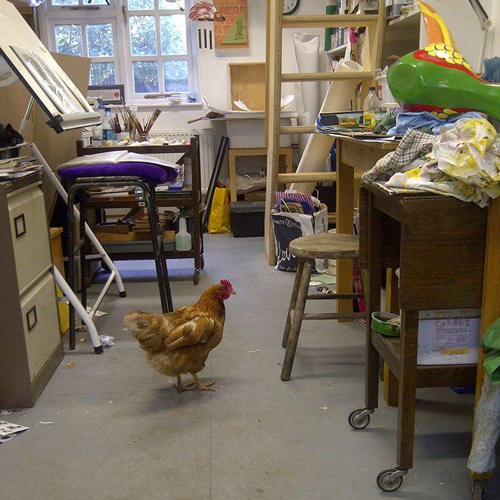 a visitor to Caroline Jackman's studio in Godalming