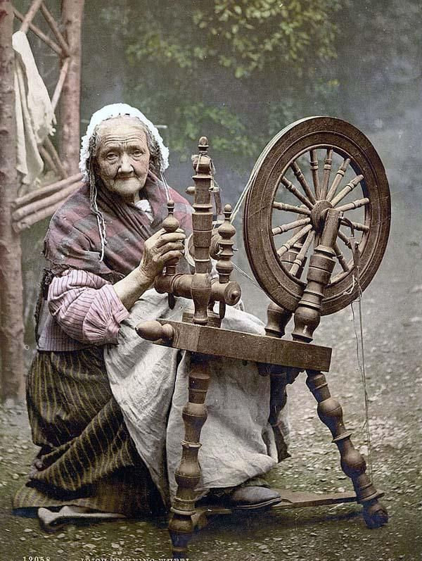 Irish Spinner and Spinning Wheel. County Galway, Ireland. Late 1890's