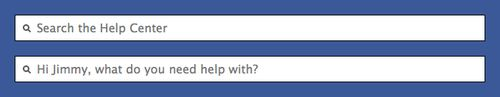 Facebook Help Center - The search box contains a personalized message when you're logged in.