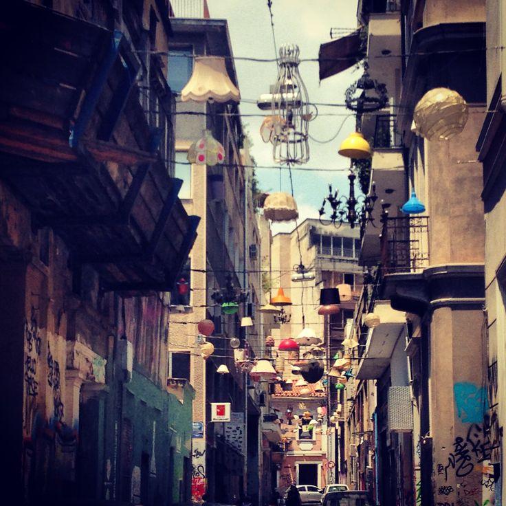 Monastiraki, Athens downtown. Narrow street with lamps.