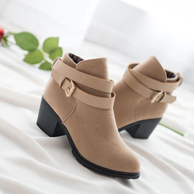 Women Winter Low Heel Short Ankle Boots Martin Snow Botas Warm Heels Boot Shoes #fashiongiftsforwomen