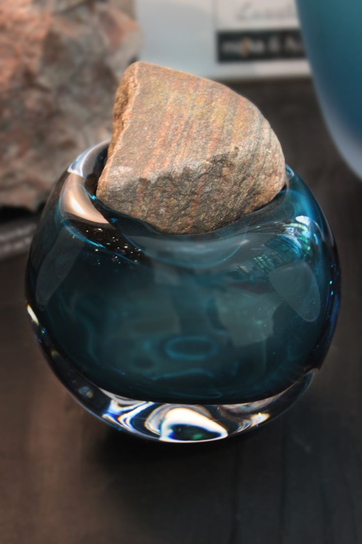 """Viimeinkin yhtä """"Finally Together"""" glass jar by Mafka, glass artist Marja Hepo-aho. Finally Together artwork combine mouth blown glass with natural stones."""
