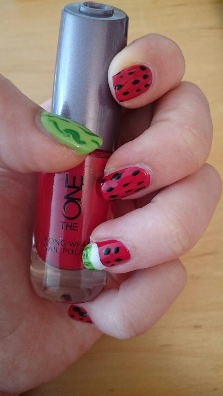 Sweet watermelon  design. Thanks to Sarabeautycorner for her amazing ideas on YouTube