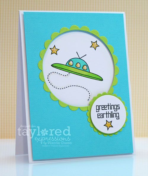 Bright card by Wanda Guess of A Blog Called WandaCardmaking Inspiration, Cards Ideas, Blog Call, Wanda Stamps, Stamps Sets, Bright Cards, Paper Crafts Cards, Aliens Cards, Call Wanda