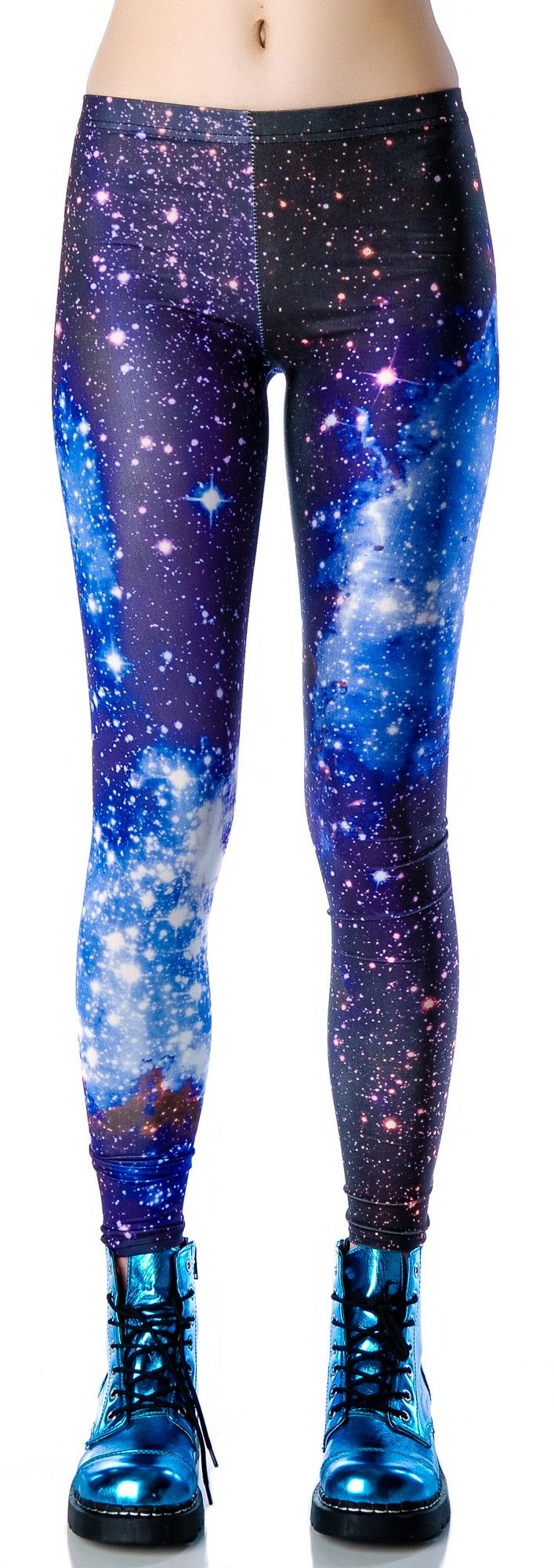 Womens S Blue Leggings Tights Soft Unif Hipster Print Sexy Milk Black GALAXY S/M