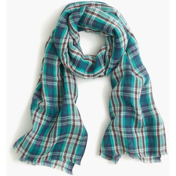 J.Crew Teal Plaid Scarf (455 ZAR) ❤ liked on Polyvore featuring accessories, scarves, beach shawl, plaid shawl, plaid scarves, tartan plaid shawl and teal shawl