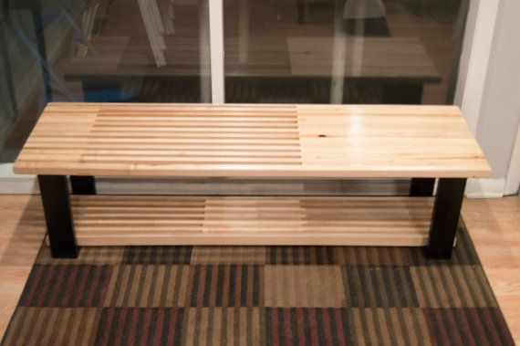 36 60 Maple Bench Coffee Table With Shoe Rack Or Storage Table Coffee Table With Storage Shoe Rack