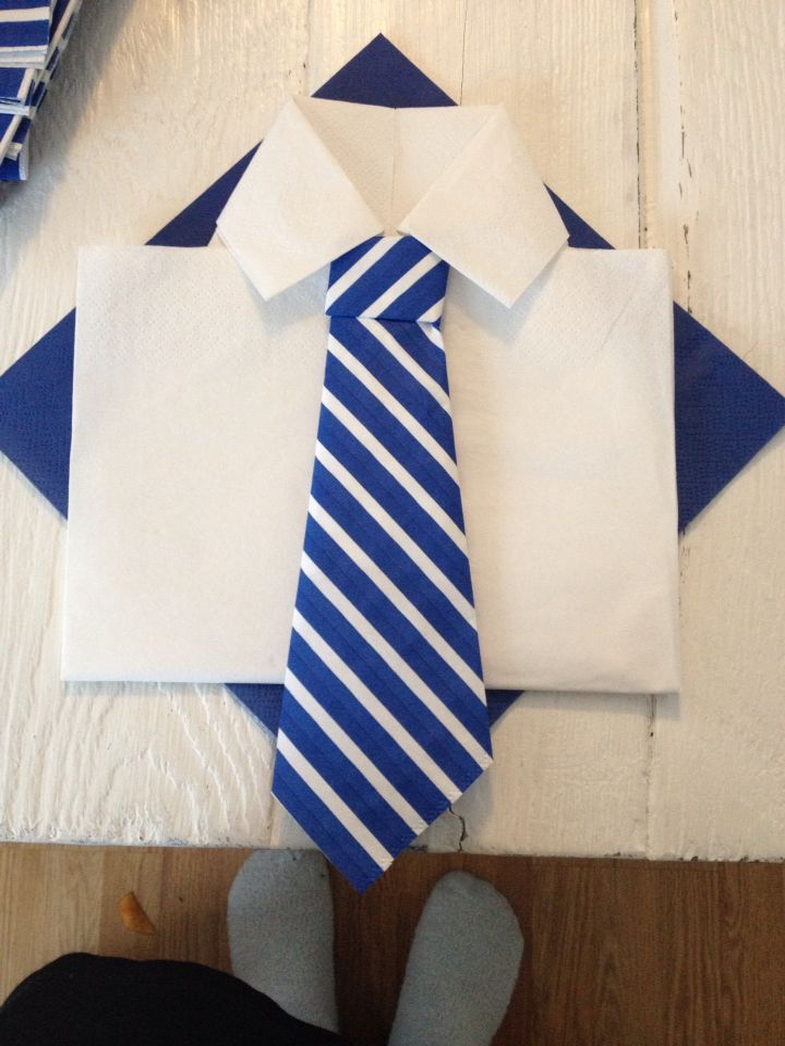 My own shirt and tie napkin. For my son's confirmation #napkinfolding #shirt #blue #tie