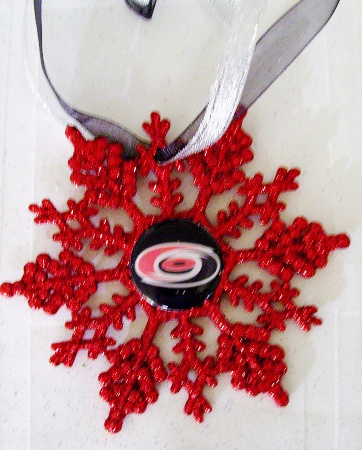 Carolina HURRICANES Hockey Fans!! Handmade Glitter Snowflake by ZZsTeamTime on Etsy