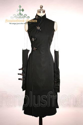 Qi Gothic Punk Corset Dress&Detachable Sleeves Gloves