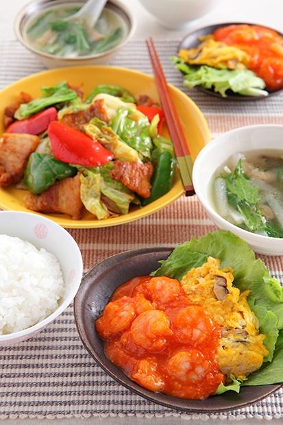 「ご飯がすすむ中華のおかず」 回鍋肉(ホイコーロー) 卵と小えびのチリソース ザーサイと大根のスープ