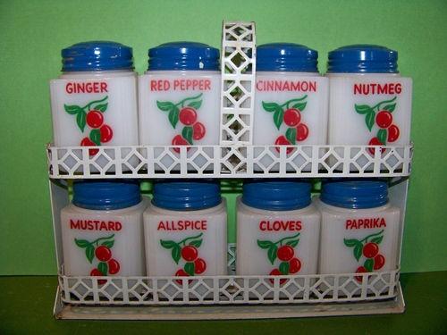 8 Vintage Tipp City Spice Shaker Set Red Cherries w/ Metal Rack Milk Glass | eBay