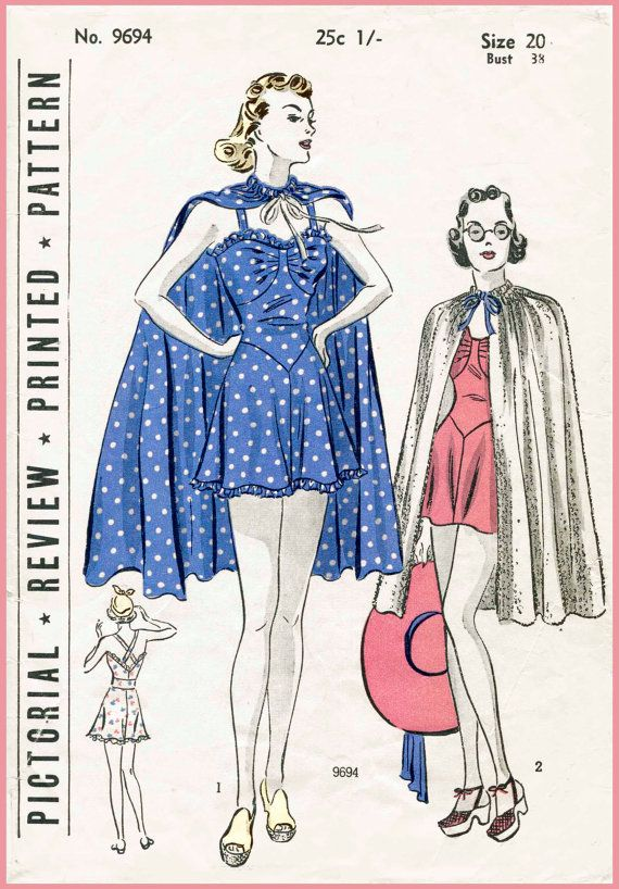 1930 30s Pictorial Review 9694 *rare* playsuit bathing suit cape beach romper vintage women's sewing pattern bust 38 reproduction repro English & French