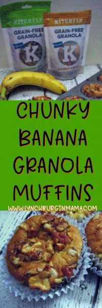 Try Kitchfix in these delicious Chunky Banana Granola Muffins! They're a perfect grab-n-go breakfast!