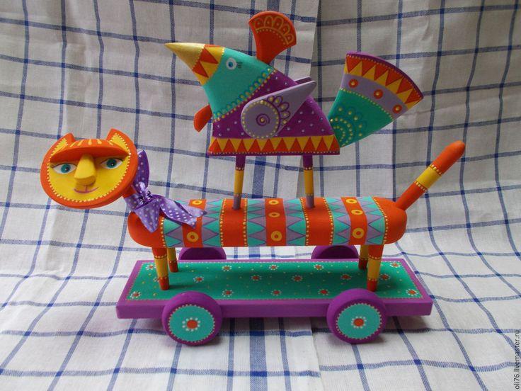 Купить Дружба...,она такая! - комбинированный, интерьерная игрушка, арт-объект, кот, котик, птичка, птица