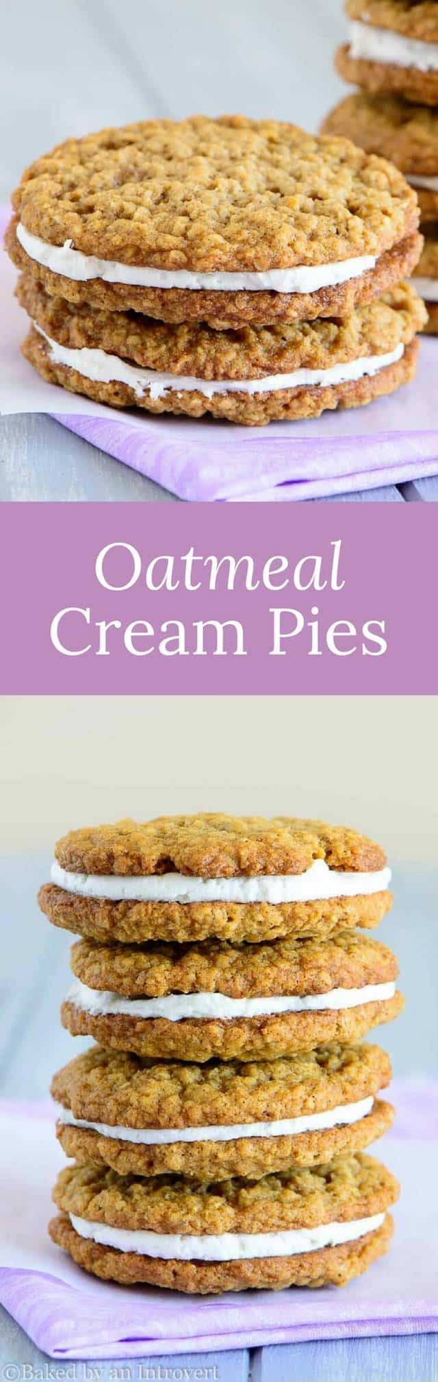 If you're searching for a soft oatmeal cookie with a creamy center, look no further than these super easy oatmeal cream pies. via @introvertbaker