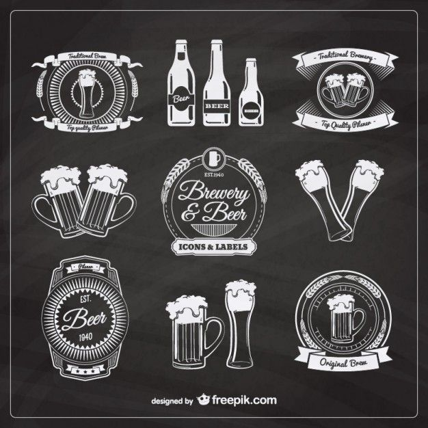 Emblemas de cerveja no estilo retro Vetor grátis