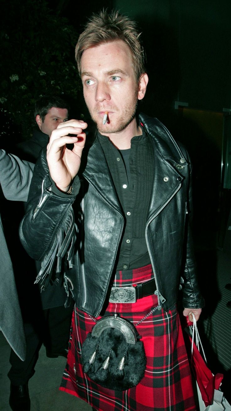 Ewan McGregor - kilt and leather jacket