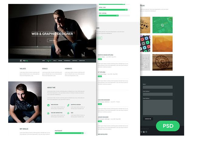 26 best 25 Free Resume PSD Website Template images on Pinterest - free resume website templates