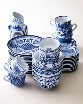 12 Traditional Dessert Plates : blue and white dinnerware - pezcame.com