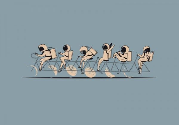 'The Great Lunar Cycle' print Aaron Thong.: Illustration, Art Prints, Thongs, Moon Cycle, Lunar Cycle, Bicycle