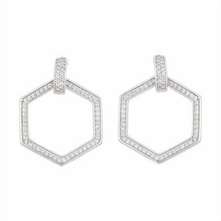White CZ Sterling Silver Open Hexagon Post Dangle Earrings, Women's