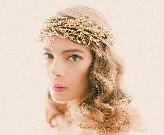 Golden bridal headpiece, Silver branches, Gold wedding crown, Bridal head piece, Wire branch headdress, Golden woodland crown - SOLSTICE