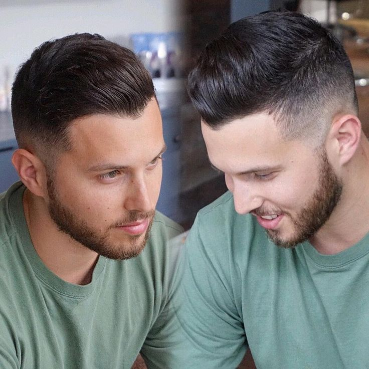 See tips to get this Mens Dark Brown Tapered Fade with Natural Wavy Texture and Beard and other men's textured hairstyles, fade cuts, and undercuts at Hairstyleology.com