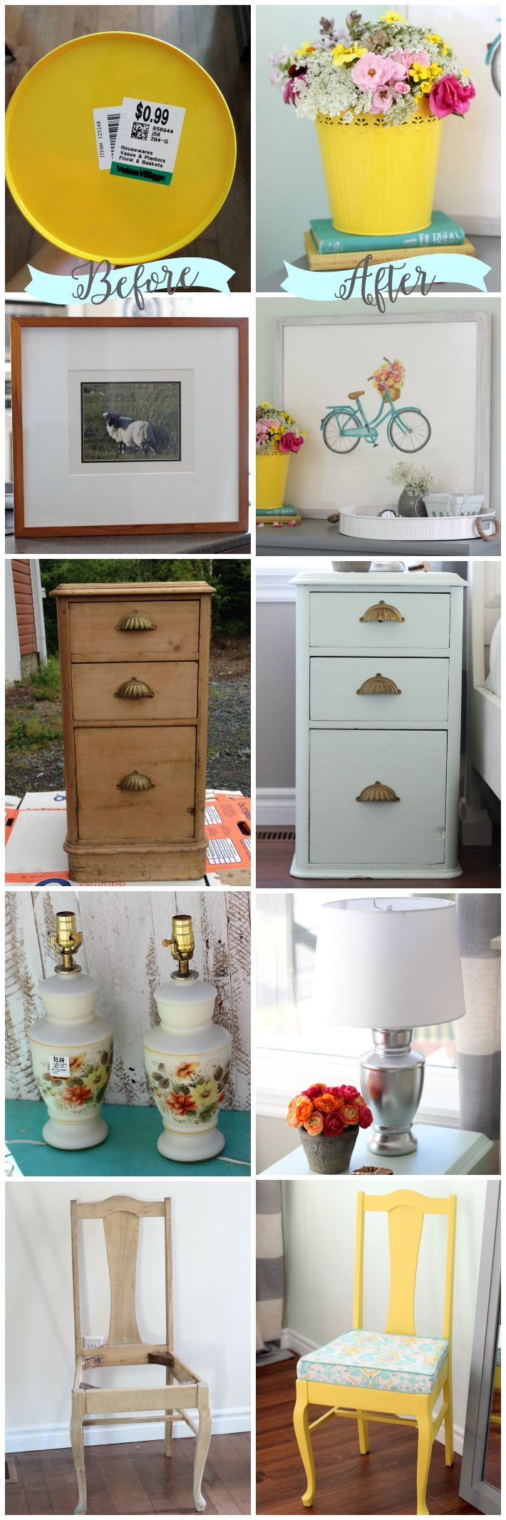 Before and After thrift store finds- the power of paint!  Snickerdoodle Sunday Party