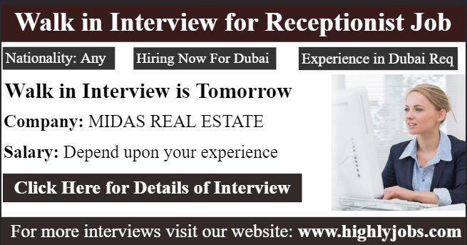 Walk In Interview For Receptionist Job Receptionist Jobs Job