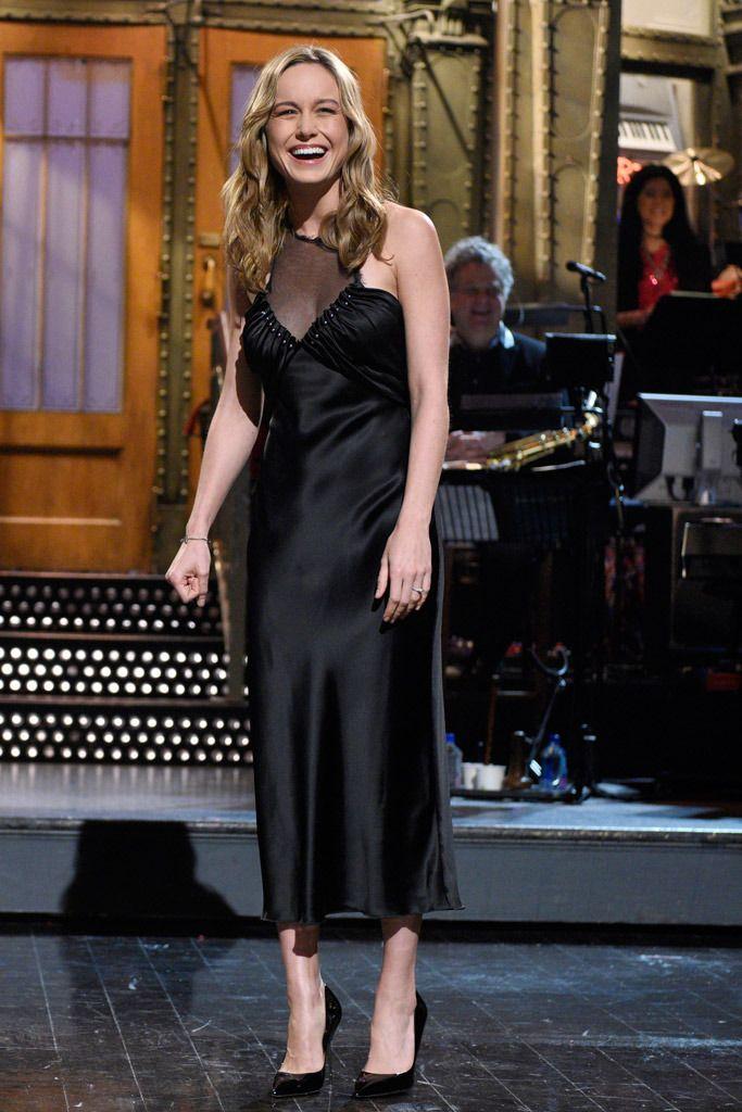 """Brie Larson hosts """"SNL"""" in Kurt Geiger."""