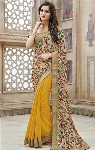 Chic Yellow Printed Chiffon Saree For Party  #SareeStyle #FashionableSaree #AmazingSaree #SareeForParty #PartySareeOnline #FestivalWear#Vogue #GoodLoking