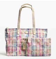 coach f77354 Madras Weekender Packable Nylon Med
