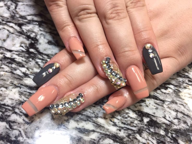 82 best hair nails designers images on pinterest designers coal grey coffin nails prinsesfo Image collections