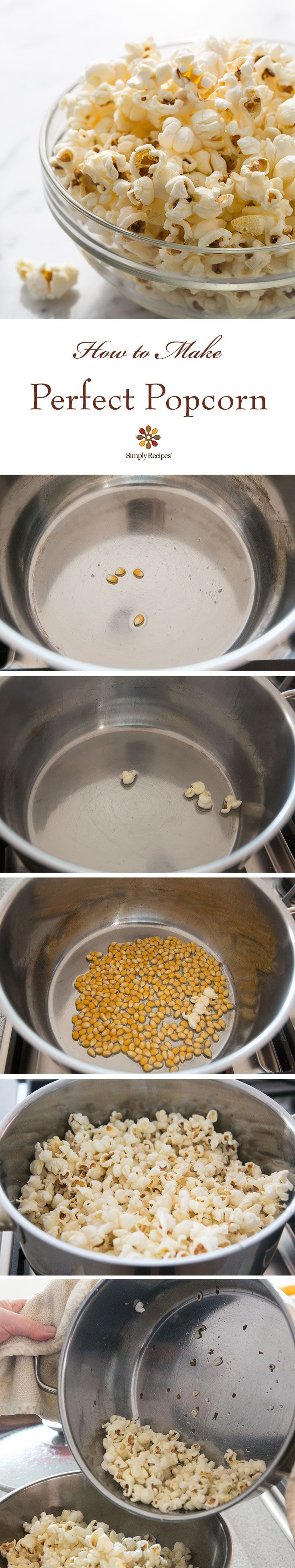 How to make PERFECT popcorn. No burnt kernels! Easy stove-top popcorn recipe on SimplyRecipes.com