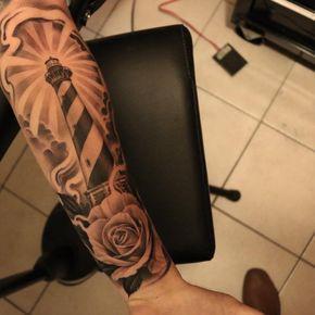 Black and Grey Lighthouse Tattoo by @bullseyetattooshop @ericmarcinizyn
