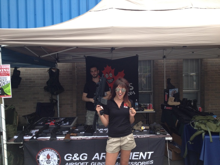 97.7 HITZ FM in attendance. As you can see, she was very happy with our wide selection of Airsoft products and accessories!