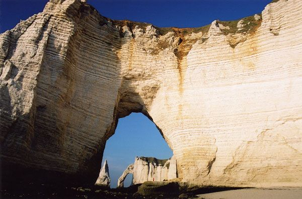 Well known lime stone creations at Etretat, Haute-Normandie.