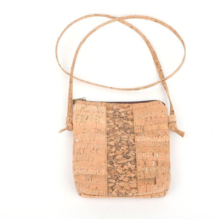 Small Natural Cork Cross Body Messenger Bag With Vertical Grain
