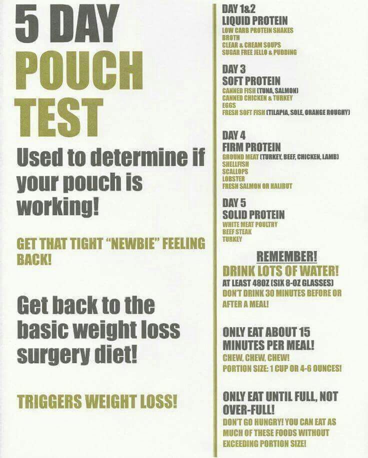 5 day pouch test   Bariatric   Pinterest
