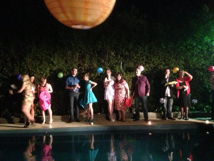 The speeches consisted of releasing 5 Wish lanterns into the night sky. Beside the pool was a safety factor incase anyone set themselves afire during the launching.