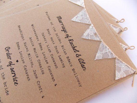 Ordre des cartes de Service, mariage rustique, carte de Kraft avec Bruant de dentelle. Mariage Programme programme, cartes de Menu