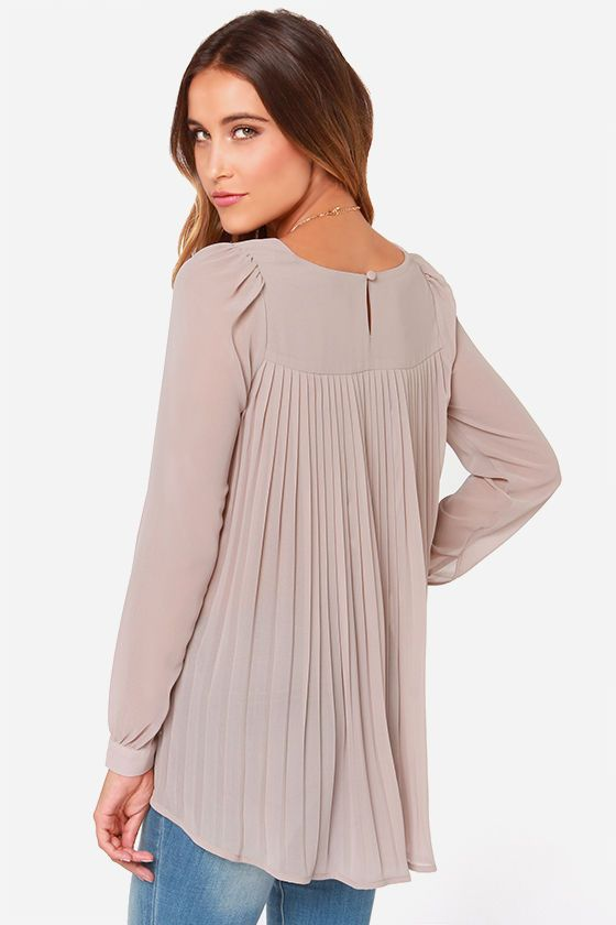 pastel taupe pleated top