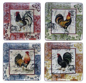 Lille Rooster Dinner Plates - Chicken Dinnerware: Presents for Chicken Lovers